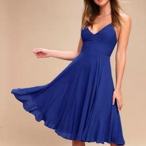 NWT Lulus | Royal blue troulos lace-up midi dress
